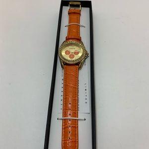 NEW Manhattan Orange and Gold Watch with Rhineston